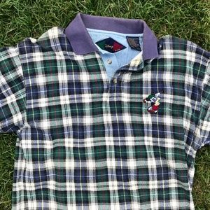 Vintage Plaid Flannel Disney Mickey Mouse  Polo